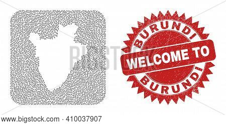 Vector Collage Burundi Map Of Delivery Arrows And Rubber Welcome Badge. Collage Geographic Burundi M