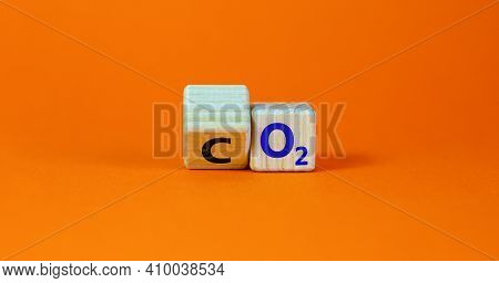 Co2 Or O2 Symbol. Turned The Wooden Cube And Changed Words 'co2, Carbon Dioxide' To 'o2, Oxygen'. Be