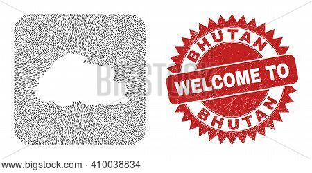 Vector Collage Bhutan Map Of Immigration Arrows And Rubber Welcome Seal Stamp. Collage Geographic Bh