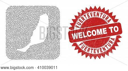 Vector Mosaic Fuerteventura Island Map Of Pointing Arrows And Rubber Welcome Stamp. Mosaic Geographi