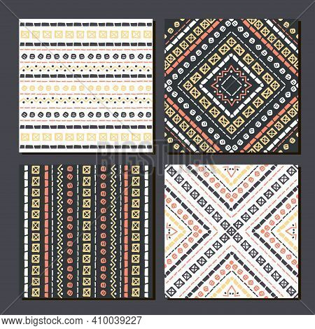 Ethnic Seamless Patterns. Set Of 4 Aztec Geometric Backgrounds. Collection Of Stylish Navajo Fabric