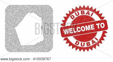 Vector Mosaic Dubai Emirate Map Of Direction Arrows And Grunge Welcome Seal Stamp. Mosaic Geographic