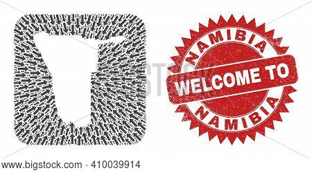 Vector Mosaic Namibia Map Of Moving Arrows And Grunge Welcome Stamp. Mosaic Geographic Namibia Map D