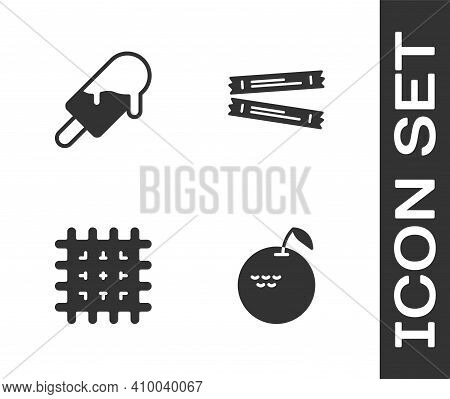 Set Apple, Ice Cream, Cracker Biscuit And Sugar Stick Packets Icon. Vector