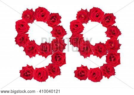 Numeral 99 Made Of Red Roses On A White Isolated Background. Red Roses. Element For Decoration. Nine