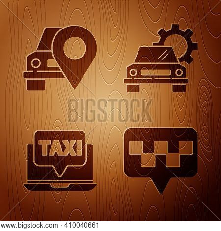 Set Map Pointer With Taxi, Map Pointer With Taxi, Laptop Call Taxi Service And Car Service On Wooden