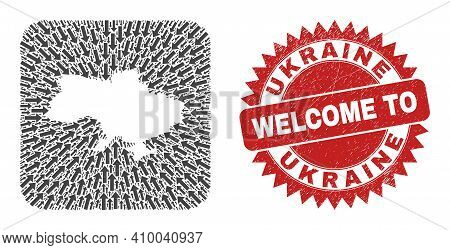 Vector Collage Ukraine Map Of Delivery Arrows And Rubber Welcome Stamp. Mosaic Geographic Ukraine Ma
