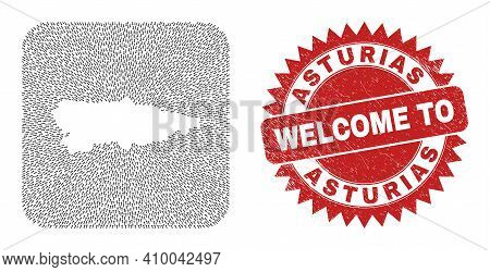 Vector Mosaic Asturias Province Map Of Navigation Arrows And Rubber Welcome Stamp. Mosaic Geographic