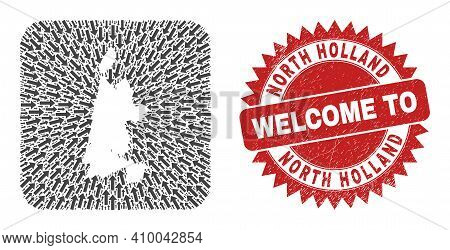 Vector Mosaic North Holland Map Of Moving Arrows And Rubber Welcome Stamp. Collage Geographic North