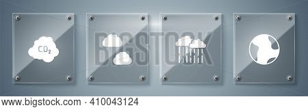 Set Earth Globe, Cloud With Rain, And Co2 Emissions Cloud. Square Glass Panels. Vector