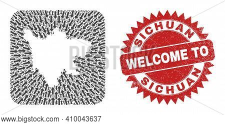 Vector Collage Sichuan Province Map Of Movement Arrows And Rubber Welcome Badge. Collage Geographic