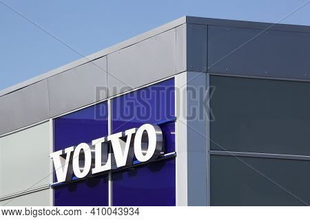 Risskov, Denmark - May 11, 2019: Volvo Logo On A Wall. Volvo Is A Swedish Premium Automobile Manufac