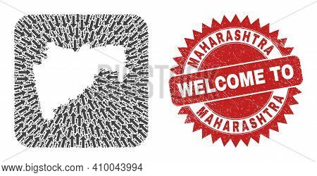 Vector Mosaic Maharashtra State Map Of Navigation Arrows And Grunge Welcome Seal. Mosaic Geographic