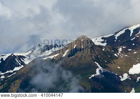 Landscape In The Arkhyz Biosphere Reserve, Russian Federation. Mountains Covered With Snow In The Ar