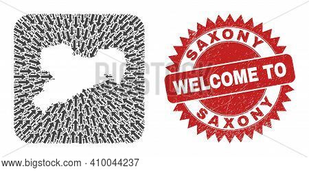 Vector Collage Saxony Land Map Of Motion Arrows And Rubber Welcome Seal Stamp. Collage Geographic Sa