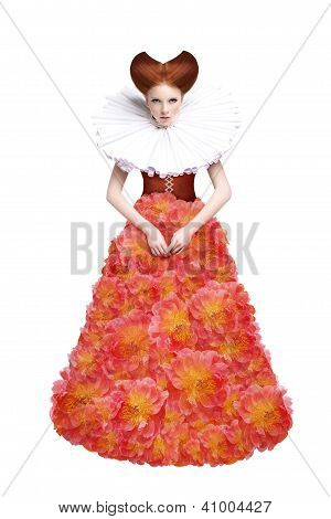 Red Hair Duchess. Retro Fashion Woman In Classic Jabot. Renaissance. Fantasy