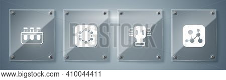 Set Chemical Formula, Gas Mask, Formula Of Benzene Rings And Test Tube And Flask. Square Glass Panel
