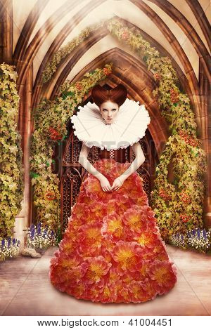 Red Hair Duchess In Red Dress And Jabot In Ancient Abbey