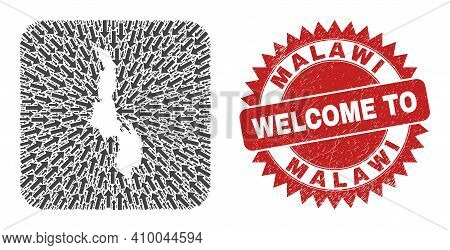 Vector Mosaic Malawi Map Of Pointer Arrows And Rubber Welcome Seal Stamp. Collage Geographic Malawi