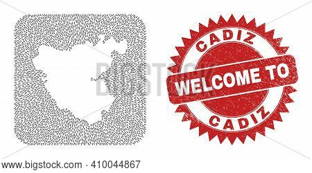 Vector Collage Cadiz Province Map Of Pointing Arrows And Rubber Welcome Badge. Mosaic Geographic Cad