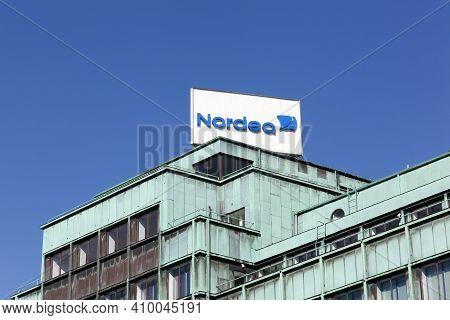 Copenhagen, Denmark - April 15, 2019: Nordea Bank Office Building. Nordea Bank Is A Swedish Financia