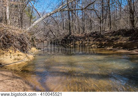 A Shallow Creek Flowing Downstream In The Woodlands With Falling Trees On Shoreline Casting Shadows