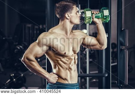 Bodybuilder Strong Athletic Rough Man Drinking Water After Workout Workout Fitness And Bodybuilding
