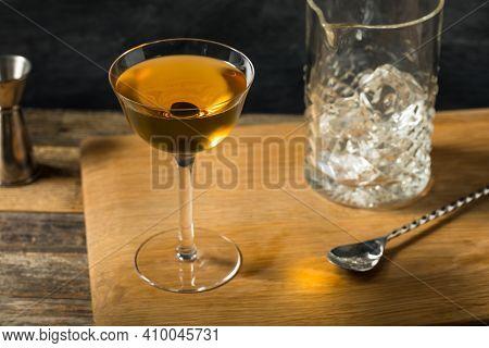 Cold Boozy Rye Whiskey Diamondback Cocktail