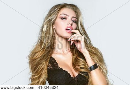 Sexy And Beautiful Fashion Woman. Attractive Blond Girl In Erotic Underwear. Sensual Model