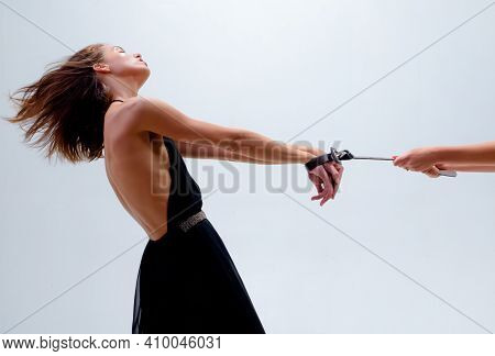 Woman Harassment. Gender Domination And Role Games. Rape And Sexual Abuse Concept