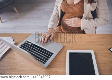 Photo Portrait Cropped Top Above High Angle View Of Pregnant Woman Working On Laptop At Desk In Mode