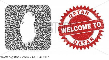 Vector Collage Qatar Map Of Moving Arrows And Scratched Welcome Seal Stamp. Collage Geographic Qatar