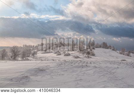 Landscape Strong Snowstorm In The Rural Highlands