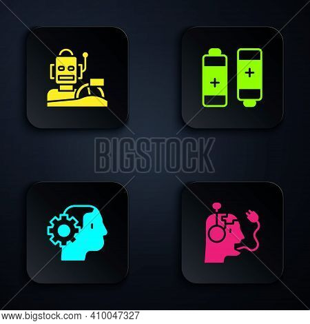 Set Robot Charging Battery, Humanoid Driving Car, Humanoid Robot And Battery. Black Square Button. V