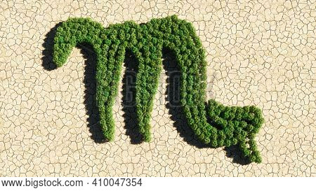 Concept or conceptual group of green forest tree on dry ground background as sign of scorpio zodiac sign. A 3d illustration symbol for  esoteric, the mystic, the power of prediction of astrology