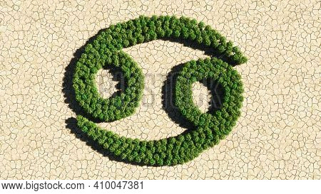 Concept or conceptual group of green forest tree on dry ground background as sign of cancer zodiac sign. A 3d illustration symbol for  esoteric, the mystic, the power of prediction of astrology