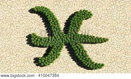 Concept or conceptual group of green forest tree on dry ground background as sign of pisces zodiac sign. A 3d illustration symbol for  esoteric, the mystic, the power of prediction of astrology