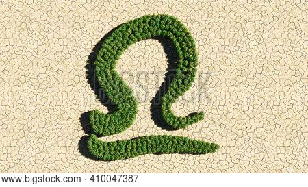 Concept or conceptual group of green forest tree on dry ground background as sign of libra zodiac sign. A 3d illustration symbol for  esoteric, the mystic, the power of prediction of astrology