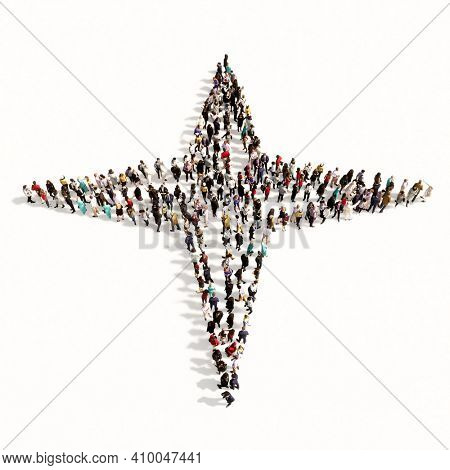 Concept or conceptual large community of people as a navigation compass sign on white background. A 3d illustration metaphor for travel, adventure, exploration, journey, advancement and progress