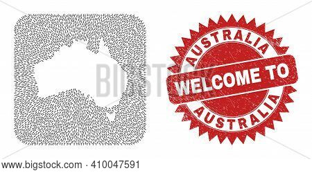 Vector Mosaic Australia Map Of Motion Arrows And Grunge Welcome Seal Stamp. Mosaic Geographic Austra