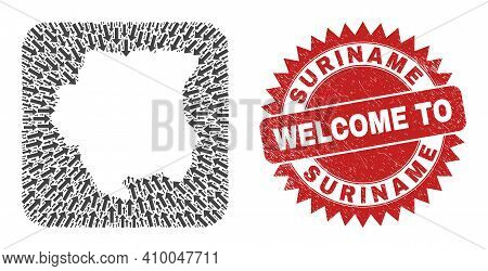 Vector Collage Suriname Map Of Straight Arrows And Rubber Welcome Stamp. Collage Geographic Suriname