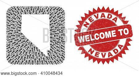 Vector Collage Nevada State Map Of Direction Arrows And Rubber Welcome Stamp. Collage Geographic Nev