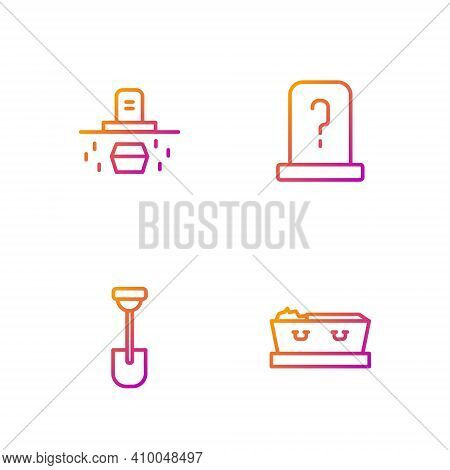 Set Line Coffin With Dead, Shovel, Grave Coffin And Tombstone. Gradient Color Icons. Vector