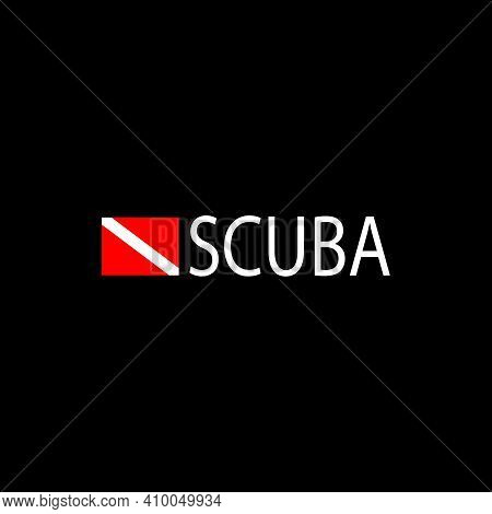 Diver Down Diving Flag And The Word Scuba