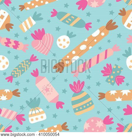 Vector Seamless Pattern With Candies. Sweet Candy And Cookie Holiday Background For Birthday Party.