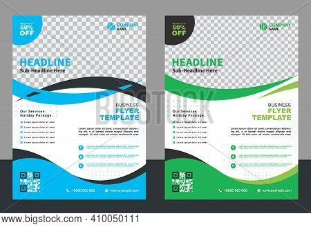 Corporate Modern Business Brochure Flyer Design A4 Template. Vector Illustration. Cover Book And Mag