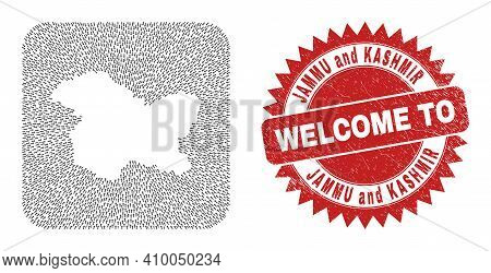 Vector Collage Jammu And Kashmir State Map Of Delivery Arrows And Rubber Welcome Badge. Collage Geog