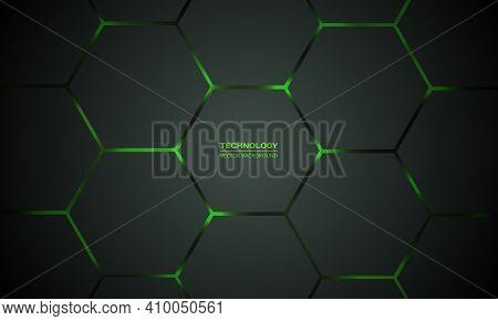 Dark Green Hexagonal Technology Vector Abstract Background. Green Bright Energy Flashes Under Hexago