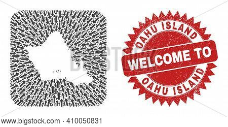 Vector Collage Oahu Island Map Of Navigation Arrows And Rubber Welcome Badge. Collage Geographic Oah