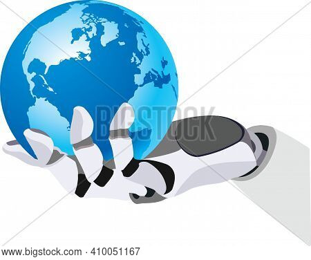 Bionic Hand With Planet Earth Bionic Hand With Planet Earth